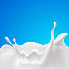 vector splash of milk - design with blue background