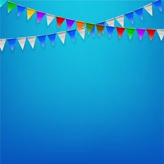 Triangle flags birthday party with blue background