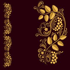 Russian folk pattern.  Frame. Natural ornament. Gold on a dark