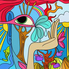Self adhesive Wall Murals Classical abstraction astratto con alberi e mano