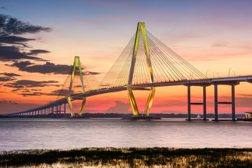 Charleston, South Carolina, USA at Arthur Ravenel Jr. Bridge.