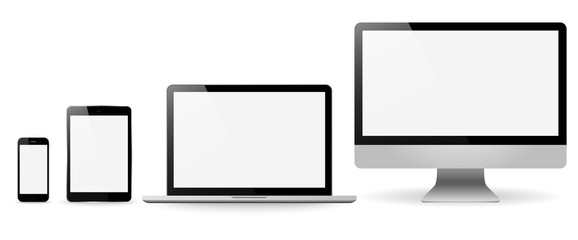 Set realistic Monitors laptop tablet and phone vector illustrati