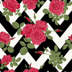 Seamless flower red roses pattern with horizontal zig zag