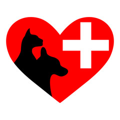 Veterinary symbol with a picture of a cat and dog