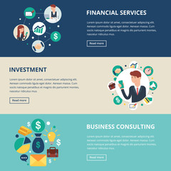 Business banners: financial services, investment, business consu