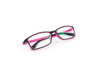 Black and pink eye plastic glasses isolated on white background
