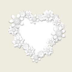 floral frame in shape of heart