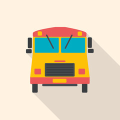 School bus flat design with long shadow.