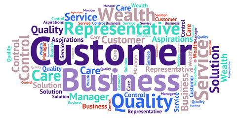 Customer - blue word cloud