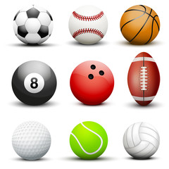 Set of most popular sport balls.