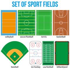 Set of most popular sample sport fields.