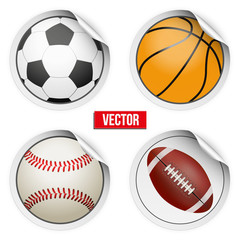 Sports Round Stickers balls with shadows. Equipment for games.