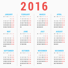 Calendar for 2016 on White Background. Week Starts Monday