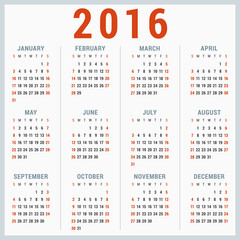 Calendar for 2016 on White Background. Week Starts Sunday
