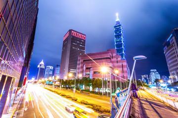 light trails in modern city street Fotomurales