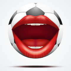 Football ball with a talking female mouth.