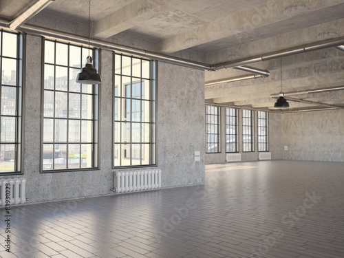 Empty Industrial Loft Stock Photo And Royalty Free Images On
