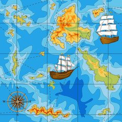 seamless map with a compass and ships