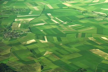 Foto op Canvas Luchtfoto Aerial view of fields in France