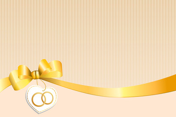 Background beige strips white yellow bow heart wedding gold ring