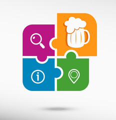 Beer mug icon on colorful jigsaw puzzle
