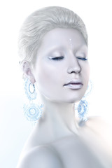 Young beautiful blue-eyed girl in an image of an ice queen