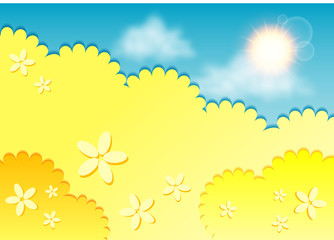 Kiddie background for text. Meadow of yellow flowers on blue sky