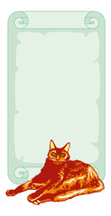 Red cat with paper scroll