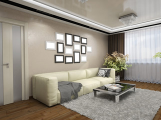 3D illustration of design of a living room in beige tones