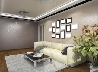 3D illustration of design of a living room in beige tones