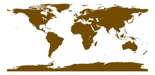 Weltkarte Farbe burnt umber
