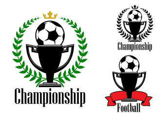 Soccer championship badges with ball and cup