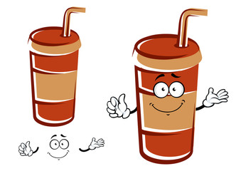 Cartoon takeaway cup with drinking straw character