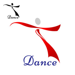 Dancing woman abstract icon or symbol