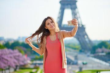 Woman tourist at Eiffel Tower