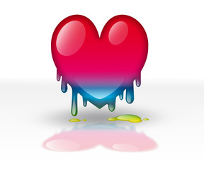 multicolored heart dripping