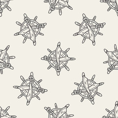 knife and Rudder doodle seamless pattern background