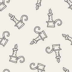 candlestick doodle seamless pattern background