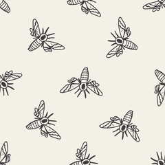 Moth doodle seamless pattern background