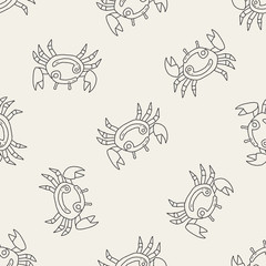 cancer Constellation doodle seamless pattern background