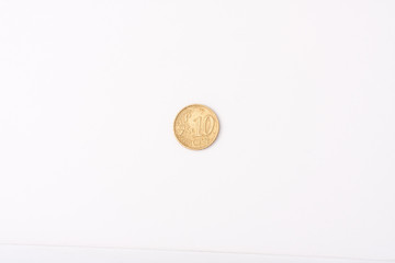 10 Euro cent coin on white background