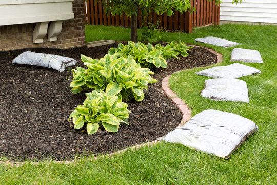 Preparing to mulch the garden in spring