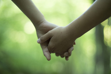 Children holding hands in the forest