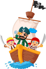 Cartoon little pirate was surfing the ocean.vector illustration