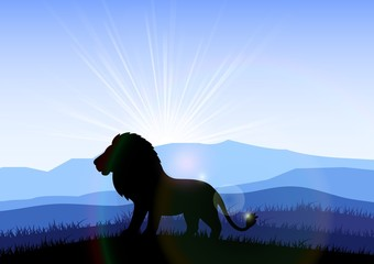 Fotobehang Paarden Lion in the field at dawn. Vector