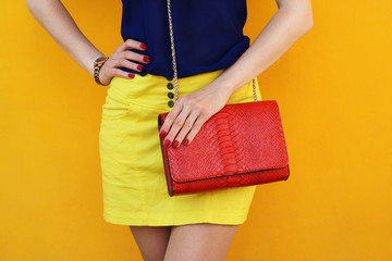 Wall Mural - Trendy girl in yellow skirt with red leather bag .