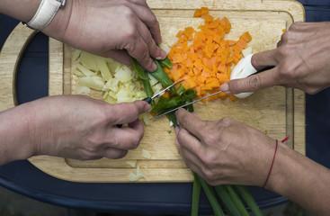 Women Chopping Onion