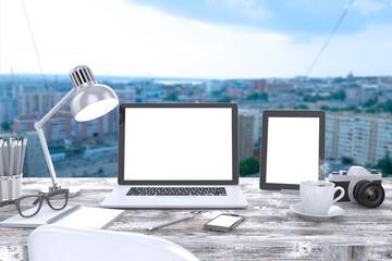 3D illustration laptop on table, Workspace
