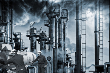 oil workers, machinery and refinery, smoke and smog