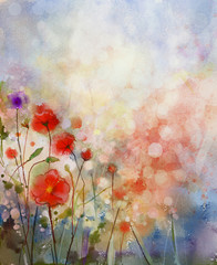 Watercolor painting spring floral background